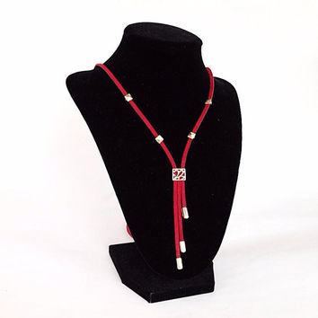 Red suede necklace, stud necklace, bib, unique, boho necklace, pyramid studs, lariat, casual, vegan, adjustable, statement, strand