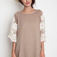 Woven Floral Shift Dress - Taupe