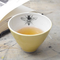 One Porcelain Yellow Bee Tea Cup