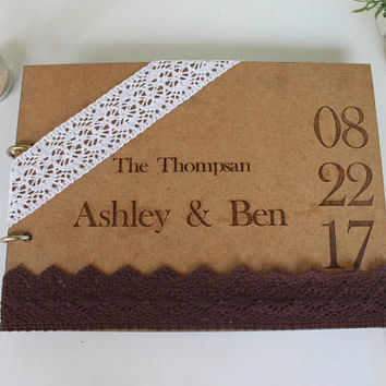 Wedding Guest Book , Kraft wedding guest book , Personalized Wedding guest book , Wedding guestbook , Rustic Guest Book , Custom Guest Book