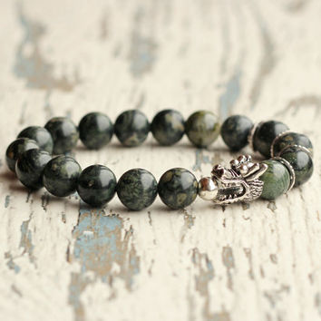 dragon bracelet game of thrones fantasy jewellery man bracelet dragons jewelry dark green beads bracelet asian rhyolite jasper gift for men