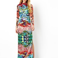 ASOS Premium Shamen Mix Print Maxi Dress - Print