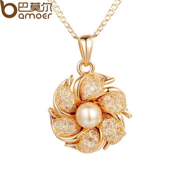 BAMOER Champagne Gold Plated Necklaces Pendants Simulated Pearl AAA Cubic Zircon