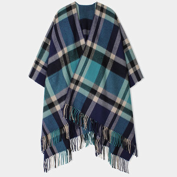 Teal plaid ruana wrap