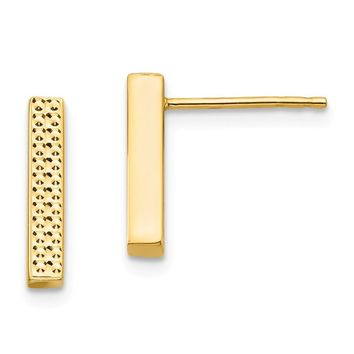 14k Yellow Gold Textured Bar Post Earrings