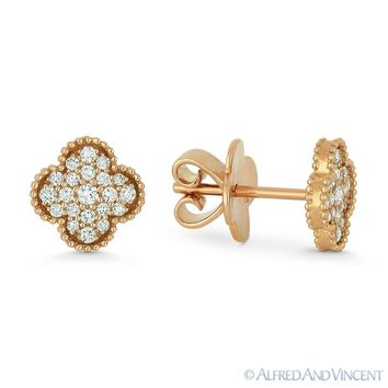 0.31ct Round Brilliant Cut Diamond Pave 18k Rose Gold Flower Charm Stud Earrings