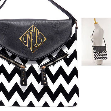 Leather Like Personalized Monogram Embroidered Chevron Handbag, Purse, Cross Body, Hipster, Messenger Black