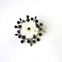 White Winter Rose Brooch In Full Bloom With Black Rhinestones Dimensional Design Vintage Collectible Gift Item 2323