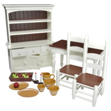 """Farmhouse Complete Dining Room Set, Furniture & Accessories for 18"""" Girl Doll"""