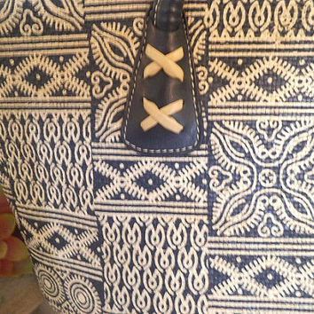 Vintage Indigo Ikat Print ~ Handbag ~ Navy Blue and white Ikat Purse