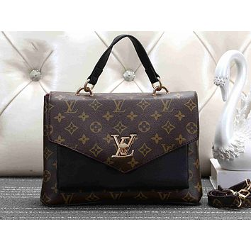 LV Fashion Hot Selling Lady's Full-Printed Colour-Coloured Single Shoulder Bag LV pattern black