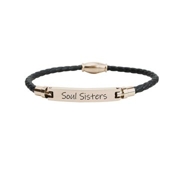 Genuine Magnetic Leather Inspirational Bracelet  -  Soul Sisters