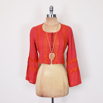 Vintage 70s Crop Top Lace Blouse Lace Top Lace Shirt India Blouse Cotton Gauze Blouse Paprika 70s Blouse Hippie Blouse Boho Blouse S Small