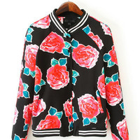 Black Floral Print Long Sleeve Jacket