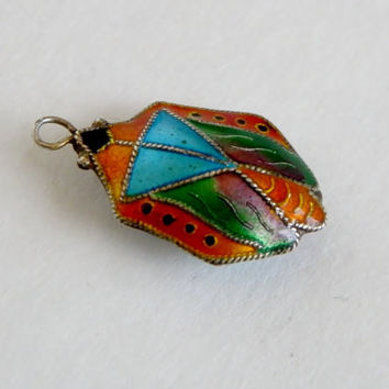 Vintage Guilloche Egyptian Revival Scarab Stag Beetle Enamel Pendant Necklace Sterling Silver  Insect