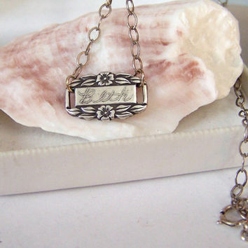 Engraved Name Pendant Authentic Forget Me Not Link Artisan Altered Oxidized Sterling Necklace Beth WWII