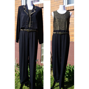 Jumpsuit with Matching Cropped Blazer and Belt, Black and Gold Glitter, Shimmer, Dressy, Double Breasted, 80s Outfit, Shoulder Pads