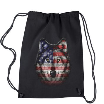 Wolf American Flag Drawstring Backpack