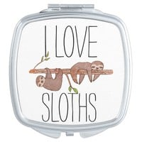 Baby Sloths hanging on Tree Pattern Mirror For Makeup
