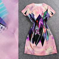 Pink Graphic Printed Short Sleeve A-Line Mini Dress