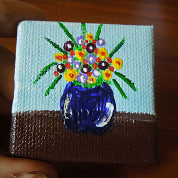 "Miniature Painting Dollhouse Art 2""x 2"" on Canvas"