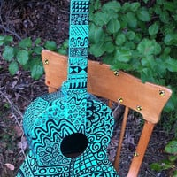 Blue Pop Art Guitar by BeesCuriosityShoppe on Etsy
