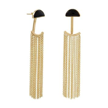 14K Gold Plated Black Onyx and Fringe Front Back Earrings