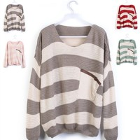 Red Striped Bat Long Sleeve Loose Sweater brown