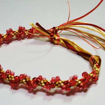 Kumihimo Bracelet Soft Satin Gold Cord & Pink by epicstitching