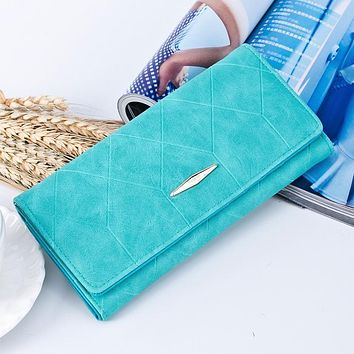 YOUYOU MOUSE PU Leather Women Wallets Vintage Plaid Long Wallet Card Holder Carteira Feminina Female Coin Purse Ladies Money Bag