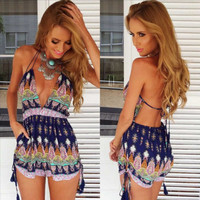 Sexy Club Wear Jumpsuits Popular Women Floral Print Backless V neck Spaghetti Strap Plus Size Casual Slim Rompers