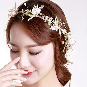 CREYIJ6 Moonso Manual bride bow flower garlands bridesmaid hair ring headdress flower children head with photo hair accessories F4349
