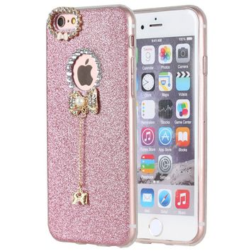 iPhone 6 Plus Case, iYCK 3D Handmade Luxury Diamond Rhinestone Hybrid Glitter Bling Shiny TPU Soft Rubber Case Cover with Sparkly Bow Knot Crystal Pendent Charms for iPhone 6/6S Plus 5.5inch - Pink