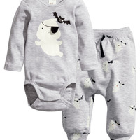 H&M - Bodysuit and Pants - Light gray - Kids
