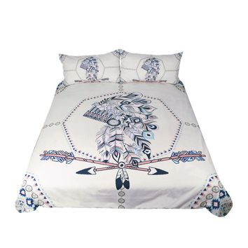 Indian Feathers 3 pcs Bedding Set Tribal Duvet Cover