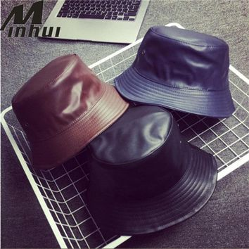 Minhui 2017 New Fashion PU Hip Hop Caps Bucket Hats for Men and Women Hat Leather Bobs Panama Bapa Hat