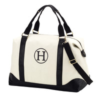 Canvas Monogrammed Weekender Bag in Black