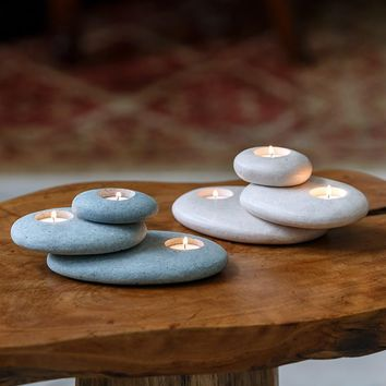 Stacked Stone Tea Light Candle Holder