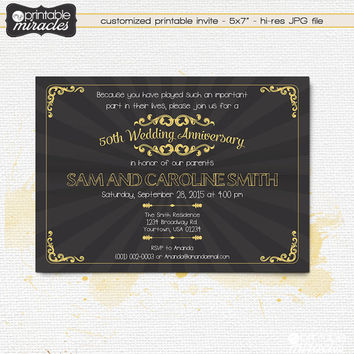 Chalkboard  gold anniversary invitation, Printable 30th 40th 50th 60th 75th anniversary invite card / Digital printable file