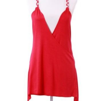 SC11006B Sexy Strap Peasant Blouse Cross Back V-Neck Tank Tops