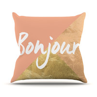 "KESS Original ""Bonjour Gold"" Throw Pillow"