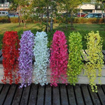 Artificial Silk Flower vine Fake Garden Hanging Plant Vine Home Decor XDE97