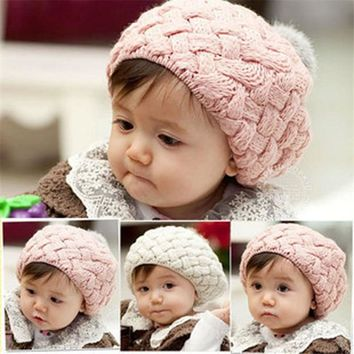 Children Girls Hats Korean Fall Winter Baby Wool Warm Cap Sphere Ice Cream Twist Wool Hat Rabbit fur Berets Hats