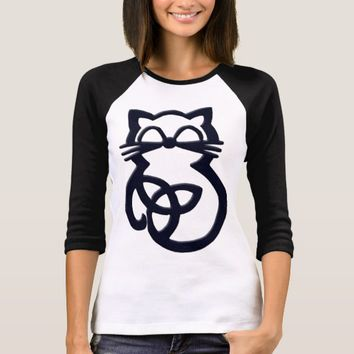 Black Trinity Knot Celtic Cat T Shirt