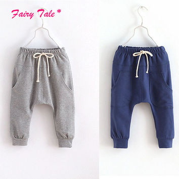 Girls Boys Sports Trousers Toddler Children Jersey Harem Pants Baby Jersey Bottoms 2-7Y