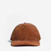 Textured Genuine Suede Snapback Hat in Camel Brown
