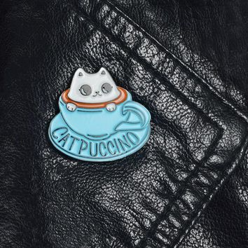 Coffee cup and cat pin Brooches Badges Hard enamel pins Backpack Bag Hat Leather Jackets Fashion Accessory for women girl friend