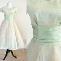 1950s Tulle and Taffeta Prom Party Dress in Soft Green Tea Length