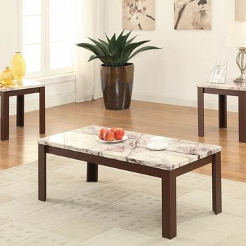 3 pc Carly II collection white faux marble top cherry wood finish coffee and end table set