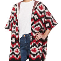 Henrietta Hooded Tribal-Print Topper Jacket, Size: